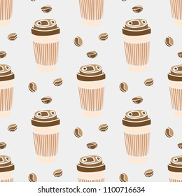 Seamless pattern with cups of coffee. Coffee to go. Hand-drawn vector elements