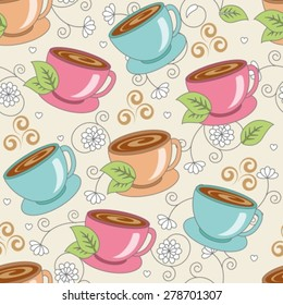 Seamless pattern with cups of fragrant drink with flowers and leaves