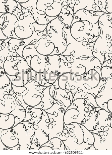 Seamless pattern with curls. Retro vector texture. Classical floral background