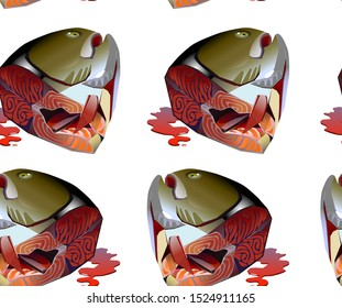 seamless pattern cut off head of sea trout vector illustration in cartoon style isolated on white background