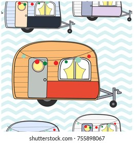 Seamless Pattern cute adorable caravan camper van pastel vector background illustration hand draw doodle cartoon comic style,invitation card