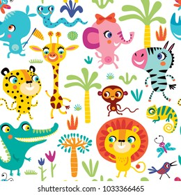 Seamless pattern with cute African animals on a white background.