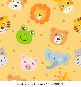 seamless pattern cute animal faces icon set for kids isolated on yellow background. vector Illustration.