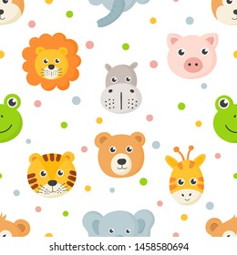 seamless pattern cute animal faces icon set for kids isolated on white background. vector Illustration.