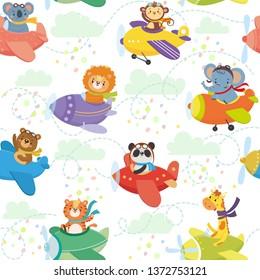 Seamless pattern with cute animal on planes in sky. Funny pilots. Giraffe, bear, tiger, elephant, monkey, lion, panda, koala Vector illustration