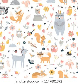 Seamless pattern with cute animals. Forest animals illustration, bear, deer, fox, rabbit, bird, hedgehog, squirrel, owl