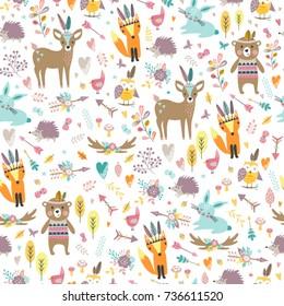Seamless pattern with cute animals. Forest animals illustration, bear, deer, fox, rabbit, bird, hedgehog.
