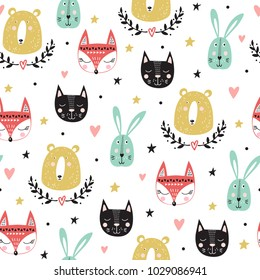 4231169e691 Seamless pattern with cute animals  fox