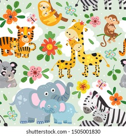 seamless pattern with cute animals mother and baby on green background - vector illustration, eps
