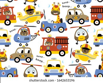 seamless pattern with cute animals on vehicles