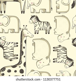 seamless pattern with cute  animals. zebra, elephant, giraffe,hippopotamus. hand drawn vector illustration