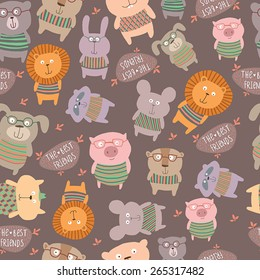 Seamless pattern with cute animals.Bright childish background.