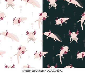 Seamless pattern with cute axolotls in different poses on white and dark background
