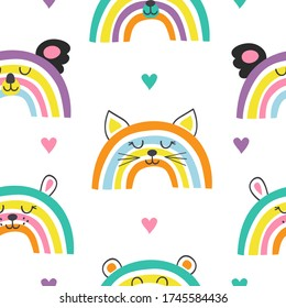 seamless pattern with cute baby animals rainbowsals rainbows  -  vector illustration, eps
