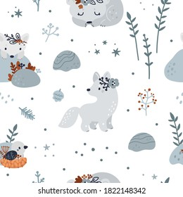 Seamless pattern with cute baby animals: bear, bird in the nest, wolf, arctic fox. Childish pattern with forest animals in scandinavian style. Ideal for kids apparel, wrapping paper, wallpaper