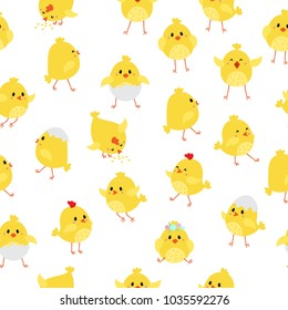 Seamless pattern with cute baby chicks