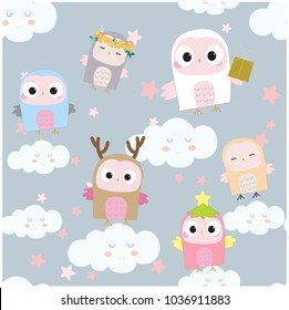 Seamless pattern Cute baby owl in blue sky background in happy day.Illustration vector by freehand doodle comic cartoon.Woodland nursery concept.