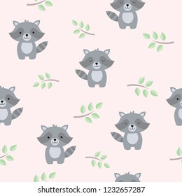 Seamless pattern with cute baby raccoons. Kids vector background