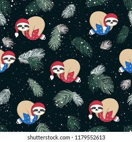 Seamless pattern with cute baby sloths sleeping on the blue and red Christmas ball. Adorable cartoon animal wearing Santa hat. Repeating winter background with funny sloth, fir branches, snow. Vector