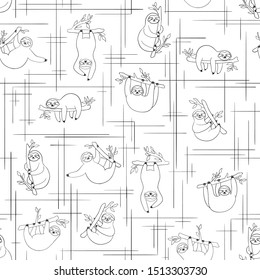 Seamless pattern with cute baby sloths hanging on the tree. Black and white line art. Hand drawn adorable animal background in the minimalist style. Vector rainforest set of funny sloths