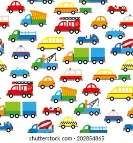 seamless pattern with cute baby's cars
