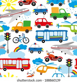 seamless pattern with cute baby's transport