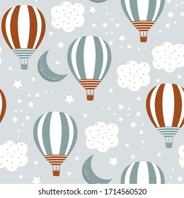 Seamless pattern with cute balloons and clouds on a white background. Children's illustration in a funny cartoon style. Baby vector Illustration. Creative childish background for wallpaper, clothing.