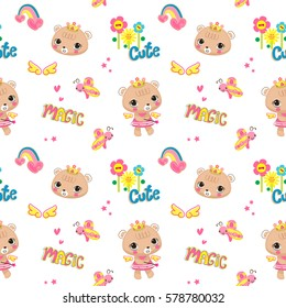 Seamless pattern, Cute bear girl wearing flower crown with a magic wand stars isolate on white background illustration vector.