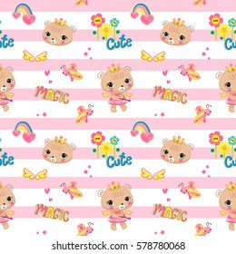 Seamless pattern, Cute bear girl wearing flower crown with a magic wand stars on pink and white striped background illustration vector.