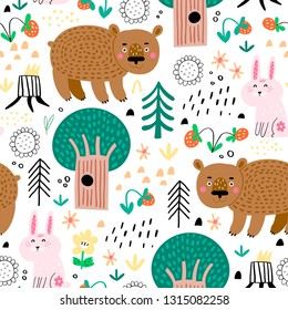Seamless pattern with cute bear and pink rabbit in the forest . Vector background for children. Scandinavian style.