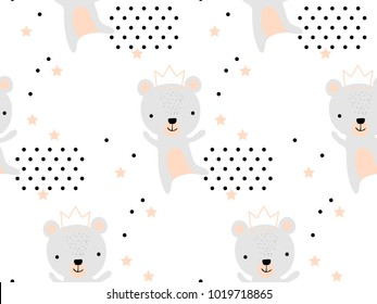 Seamless pattern with cute bear princess in crown. Creative childish texture. Great for fabric, textile Vector Illustration. Perfect for wallpaper, pattern fill, web page background, surface textures