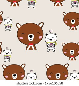 Seamless pattern of  cute bear  with red heart   and gifr box  cartoon  design  for art and print  vector eps.10