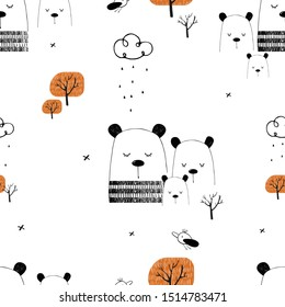 Seamless pattern, with cute Bears in the forest. Hand drawn vector illustration