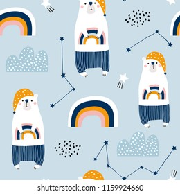 Seamless pattern with cute bears in pijamas, rainbow, stars, clouds. Creative good night background. Perfect for kids apparel,fabric, textile, nursery decoration,wrapping paper.Vector Illustration