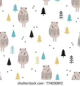Seamless pattern with cute bears and trees  on a white background in Scandinavian style. Childish illustration in vector.