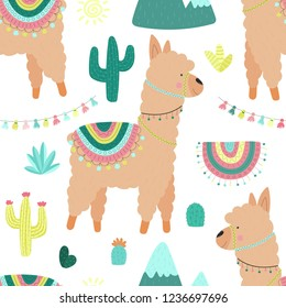 Seamless pattern of cute beige llamas or alpacas, mountains, cacti, garland, sun. Image for children, room, textile, clothes, cards, wrapping paper. Hand-drawn illustration.