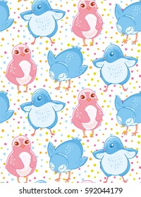 Seamless pattern with cute blue and pink little birds on cofetti background. Textiles, Wallpaper, kids decor.
