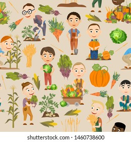 Seamless pattern. Cute boys harvesting vegetables and cereals. Harvest cabbage, potatoes, carrots, beets, pumpkins, corn and wheat.  People doing farming job. Vector
