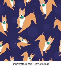 Nahtloses Muster mit süßem Stierschrecker und Ball als Hintergrund oder Tapete für Kinder. Stockillustration mit verzierter Vektorillustration mit süßem skandinavischen Charakterhund oder Haustier auf blauem Hintergrund