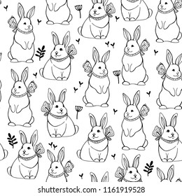 Seamless pattern with cute bunnies. Vector illustration. Mid-Autumn festival.