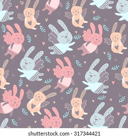 Seamless pattern with cute bunny. Background for kids. Lovely rabbits.