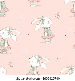 Seamless pattern with cute Bunny and butterflies.Hand drawn vector illustration