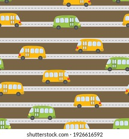 Seamless pattern with cute buses on color background. Cartoot transport. Vector illustration. Doodle style. Design for baby print, invitation, poster, card, fabric, textile.