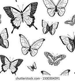 Seamless pattern of cute butterflies. Vector cartoon background. Hand-drawn style.