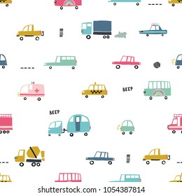 Seamless pattern with cute cars. Cartoon cars, road hatches, zebra crossing vector illustration. Perfect for kids fabric, textile, nursery wallpaper. Vector Illustration.