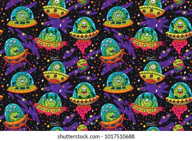 Seamless pattern with cute cartoon aliens in flying saucers. Vector cosmis endless background. Galaxy illustration
