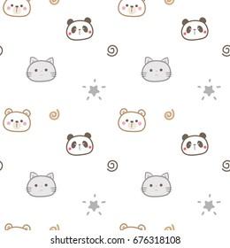 Seamless Pattern of Cute Cartoon Animal Head Design on White Background