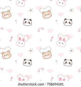 Seamless Pattern of Cute Cartoon Animal Face Design on White Background