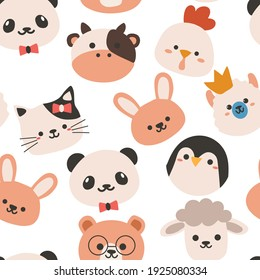 Seamless pattern with cute cartoon animals for fabric print, textile, gift wrapping paper. colorful vector for kids, flat style