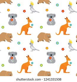 Seamless pattern with cute cartoon australian animals isolated on white background. Kangaroo, koala bear, parrot cockatoo, wombat. Vector illustration in childrens cartoon style.